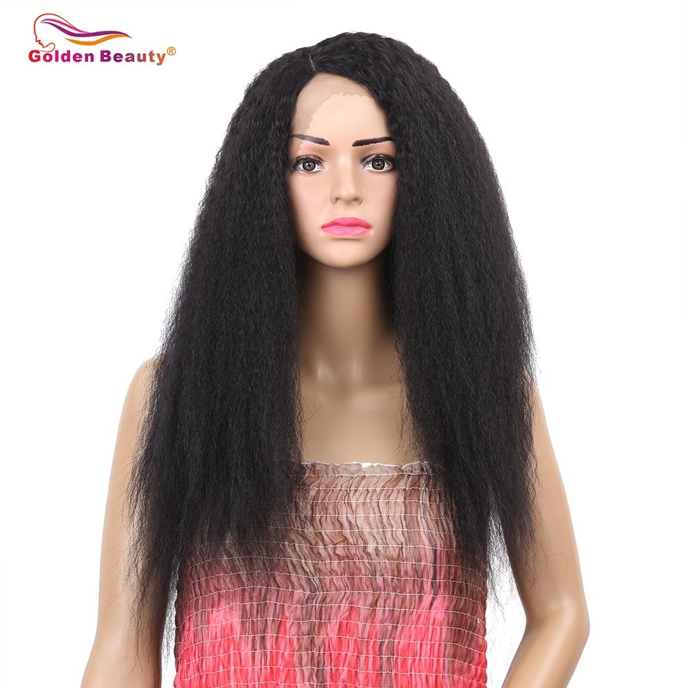 Golden Beauty 24 inch Long Kinky Straight Wig Heat Resistant Synthetic Lace Front Wigs for Women Side Part Black Wig