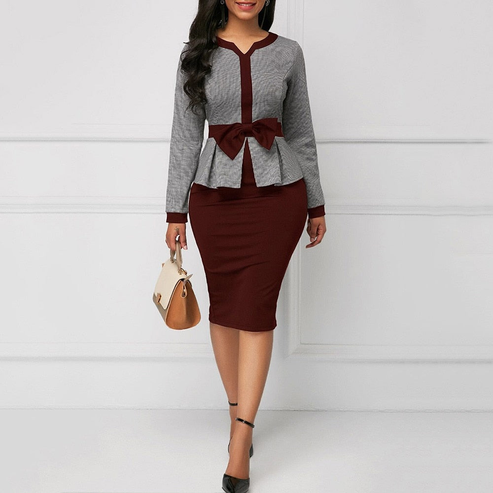 Elegant Women Bodycon Tunic Autumn Long Sleeve High Waist Vintage Dress