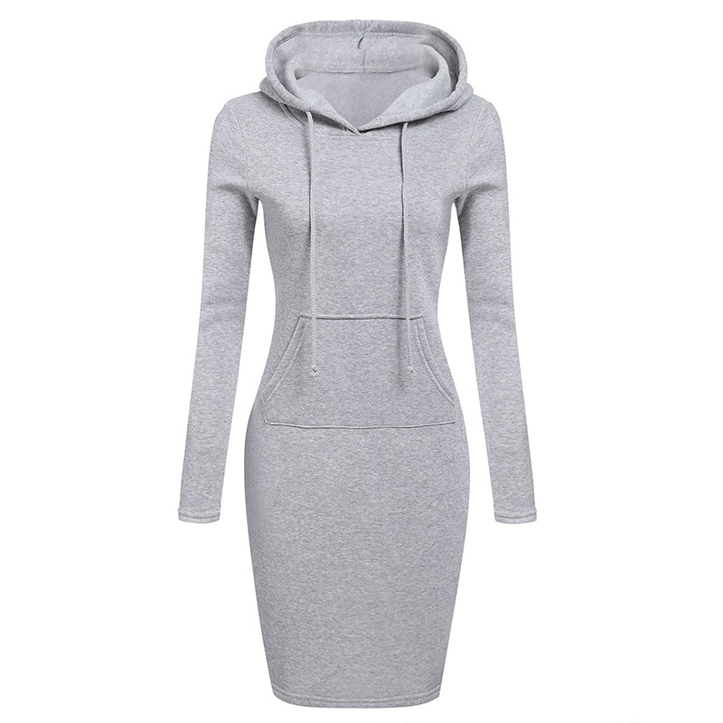 Zebery Autumn Winter Warm Sweatshirt Long-sleeved Dress