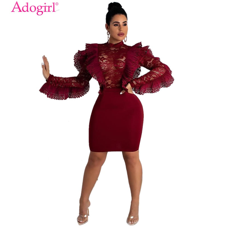 Adogirl Burgundy Ruffle Sheer Lace Bodycon Dress