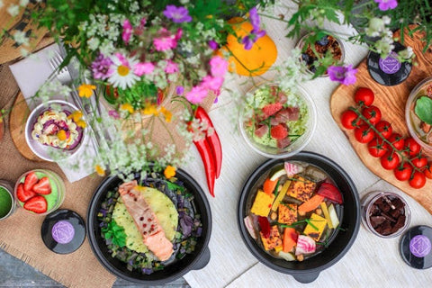 Assorted foods with beautiful colors of the rainbow.