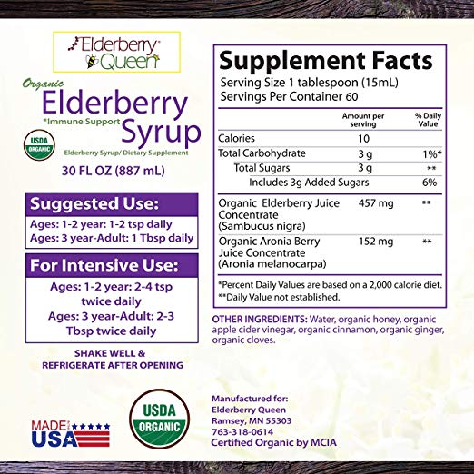 Organic Elderberry Syrup 30oz