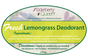 Natural Deodorant, Fresh Lemongrass, 2 Fl oz