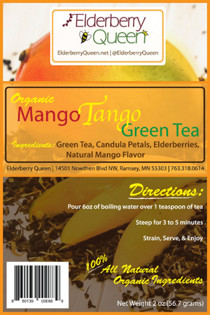 Wholesale: Organic Decaffeinated Mango Tango Green Tea 2 oz  - 12 packages/case