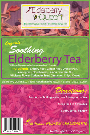 Wholesale: Organic Soothing Elderberry Loose Leaf Tea 2oz - 12 packages/case