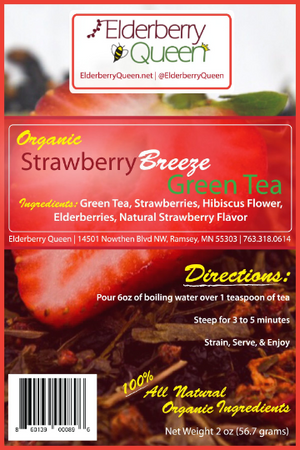 Wholesale: Organic Strawberry Breeze Green Tea 2oz - 12 packages/case