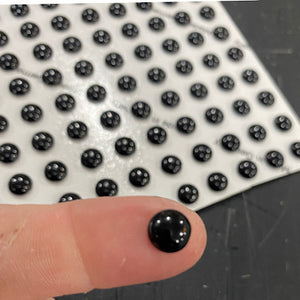 8 mm black smooth round jewel
