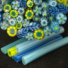 Load image into Gallery viewer, Blue bouquet 96 COE millefiore sticks, 1.5 oz pack