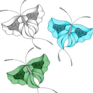 GST-113C three butterflies blue, green and clear bevel cluster