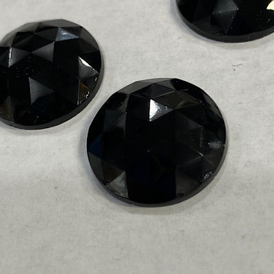 20mm black faceted jewel