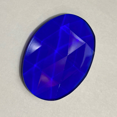 40mm x 30mm dark blue oval faceted jewel