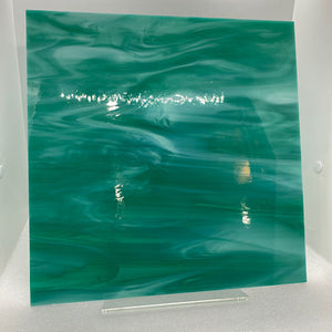 O82372S oceanside teal green/white 96 COE 12 x 12