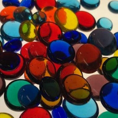 Glass nuggets large & XL in rainbow assortment, 8 oz