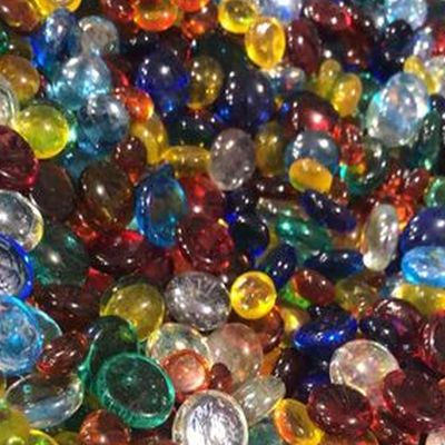 Glass nuggets small & large in rainbow assortment, 8 oz
