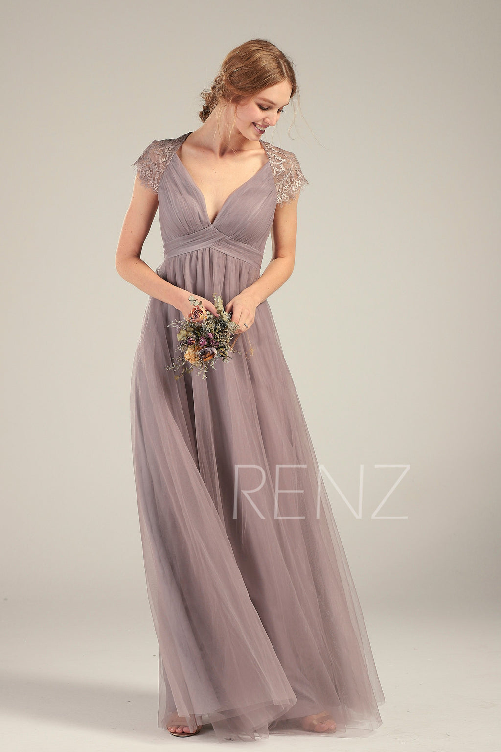 Prom Dress Dark Mauve Tulle Bridesmaid Dress Cap Sleeves Wedding Dress Ruched V Neck Maxi Dress Illusion Back Long A-line Party Dress(HS732)