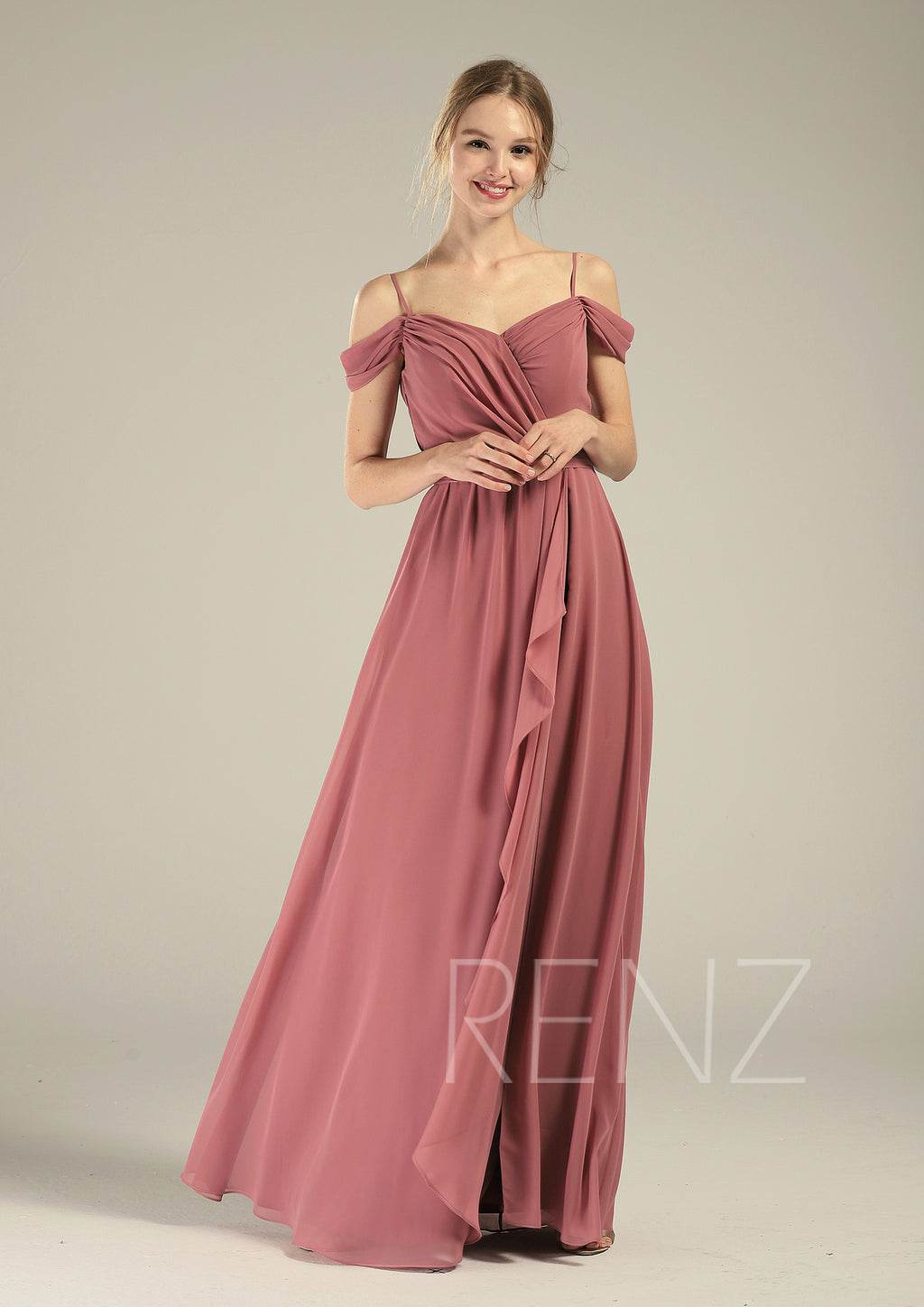 Prom Dress Old Rose Chiffon Bridesmaid Dress Ruched Off Shoulder Maxi Dress Ruffle A-line Party Dress Lapped Skirt Long Wedding Dress(L542)