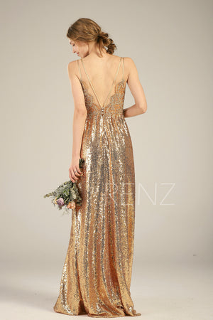 Bridesmaid Dress Gold Sequin Dress,Wedding Dress,Spaghetti Strap Maxi Dress,Lace Illusion Prom Dress,Ruched V Neck A-Line Party Dress(HQ580)