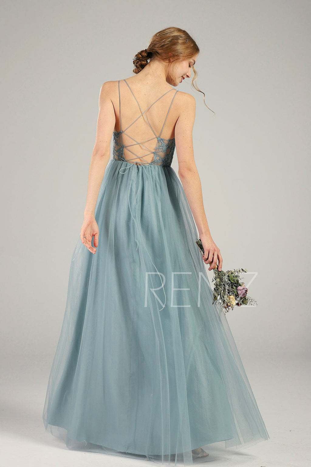 Prom Dress Dusty Blue Tulle Bridesmaid Dress V Neck Wedding Dress Spaghetti Strap Party Dress Illusion Lace-up Back A-line Maxi Dress(HS736)