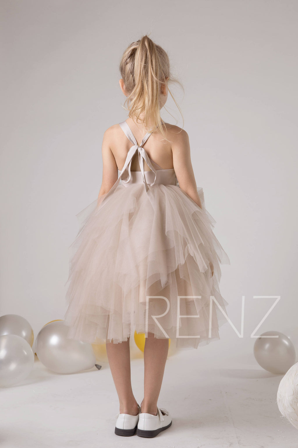Flower Girl Dress Pale Khaki Tulle Dress Off White Sequin Lace Dress Puffy Party Dress Ruffle Princess Dress Junior Bridesmaid Dress(HK597)
