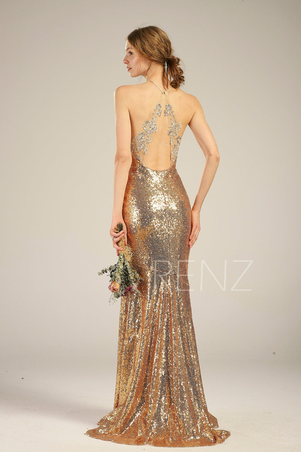 Bridesmaid Dress Gold Sequin Dress Wedding Dress Halter Neck Bodycon Party Dress Lace Illusion Open Back Evening Dress Train Dress(HQ433)