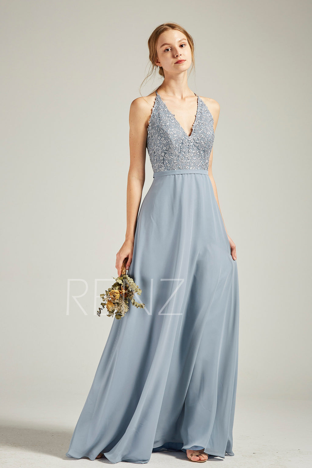 Prom Dress Long Dusty Blue Chiffon Bridesmaid Dress Wedding Dress V Neck Halter Maxi Dress Lace Deep V Back Flowy Formal Dress (H738)