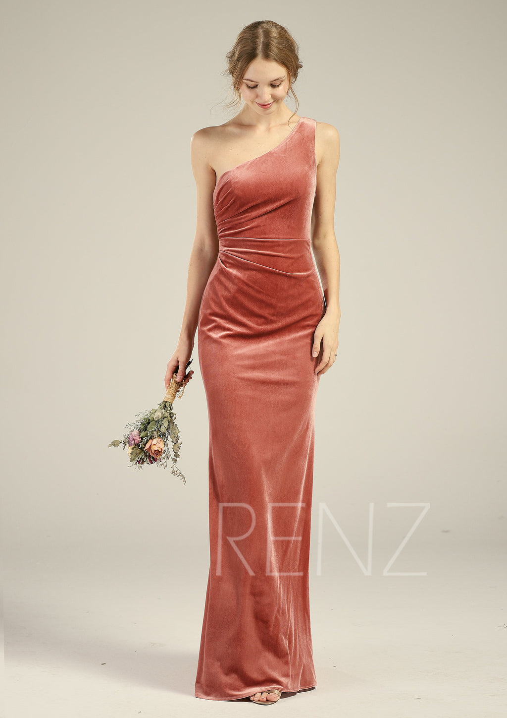 Prom Dress English Rose Velvet Bridesmaid Dress Ruched One Shoulder Wedding Dress Open Back Fitted Party Dress Sleeveless Maxi Dress(LV553)