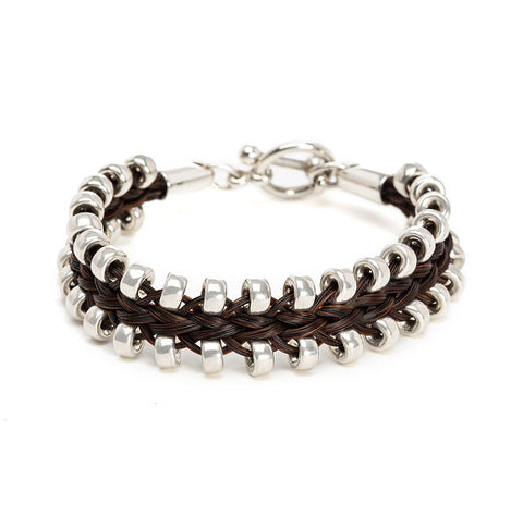 Zipper braid horsehair bracelet with toggle clasp