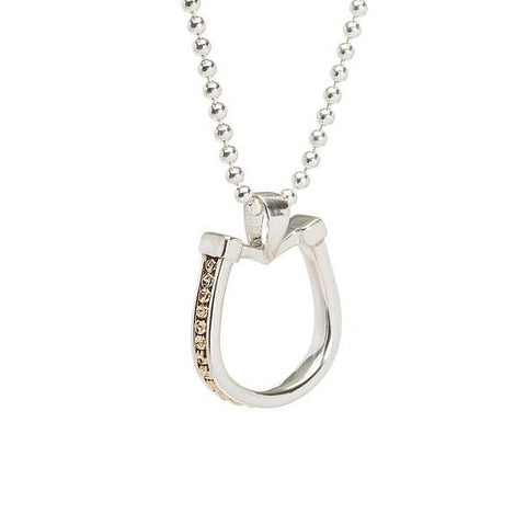 Silver horseshoe pendant with gold bead inset