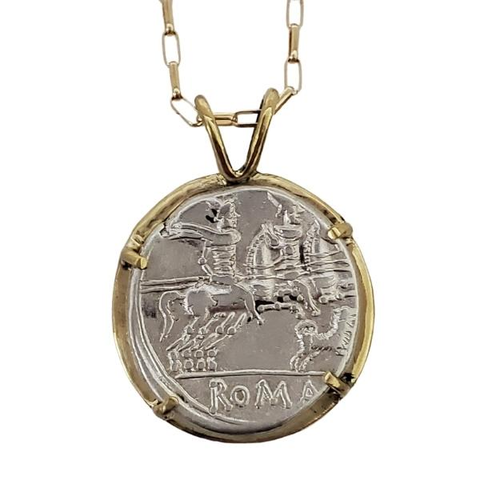 Roman Pegasus Silver Coin in Gold Setting