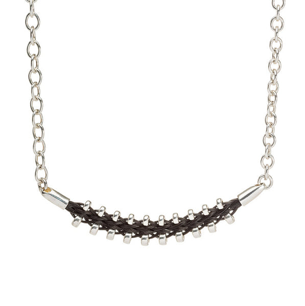 Necklace with zipper horsehair braid