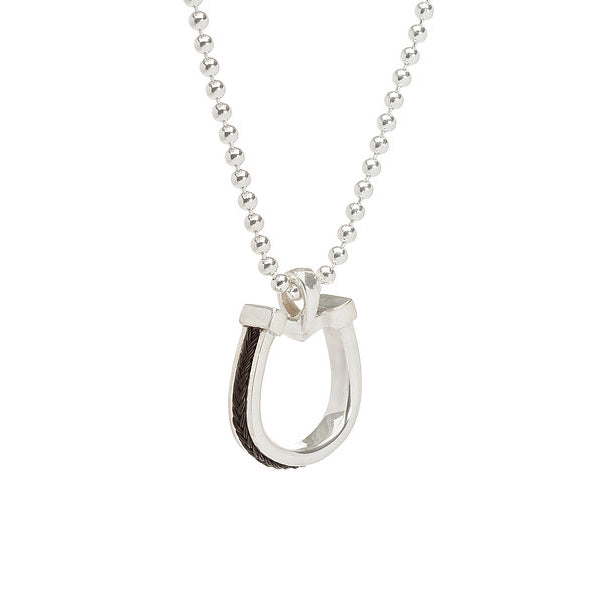 Small horseshoe pendant with inset horsehair braid