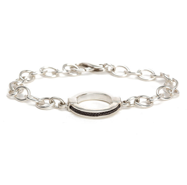 Double keystone bracelet with inset square horsehair braid