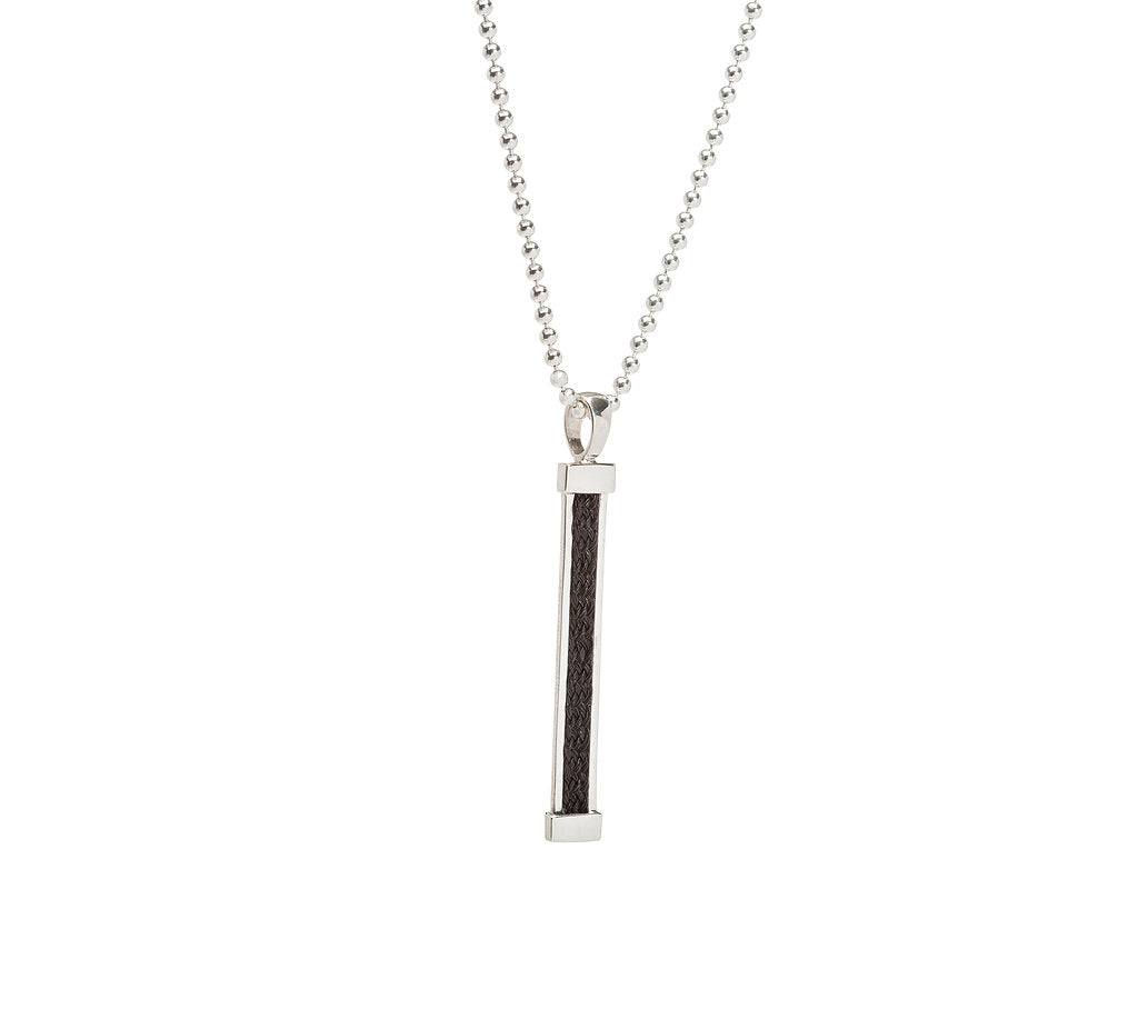Vertical Bar Pendant with Inset Horsehair Braid