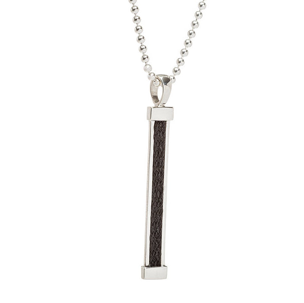 Large vertical bar pendant with inset ribbon horsehair braid