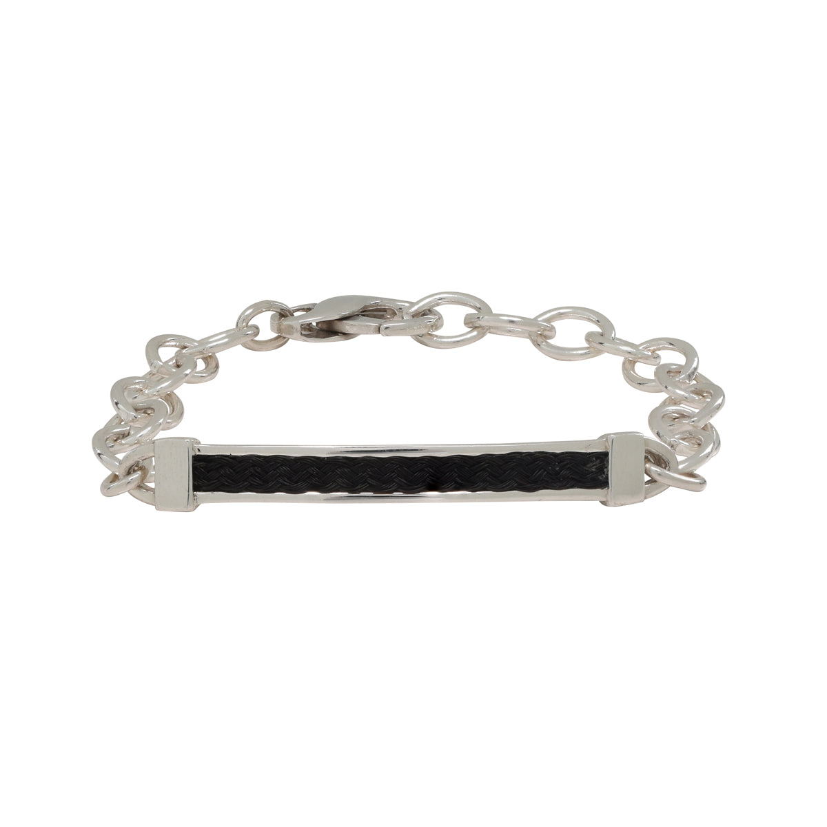 Bar Bracelet with Horsehair Braid Inset