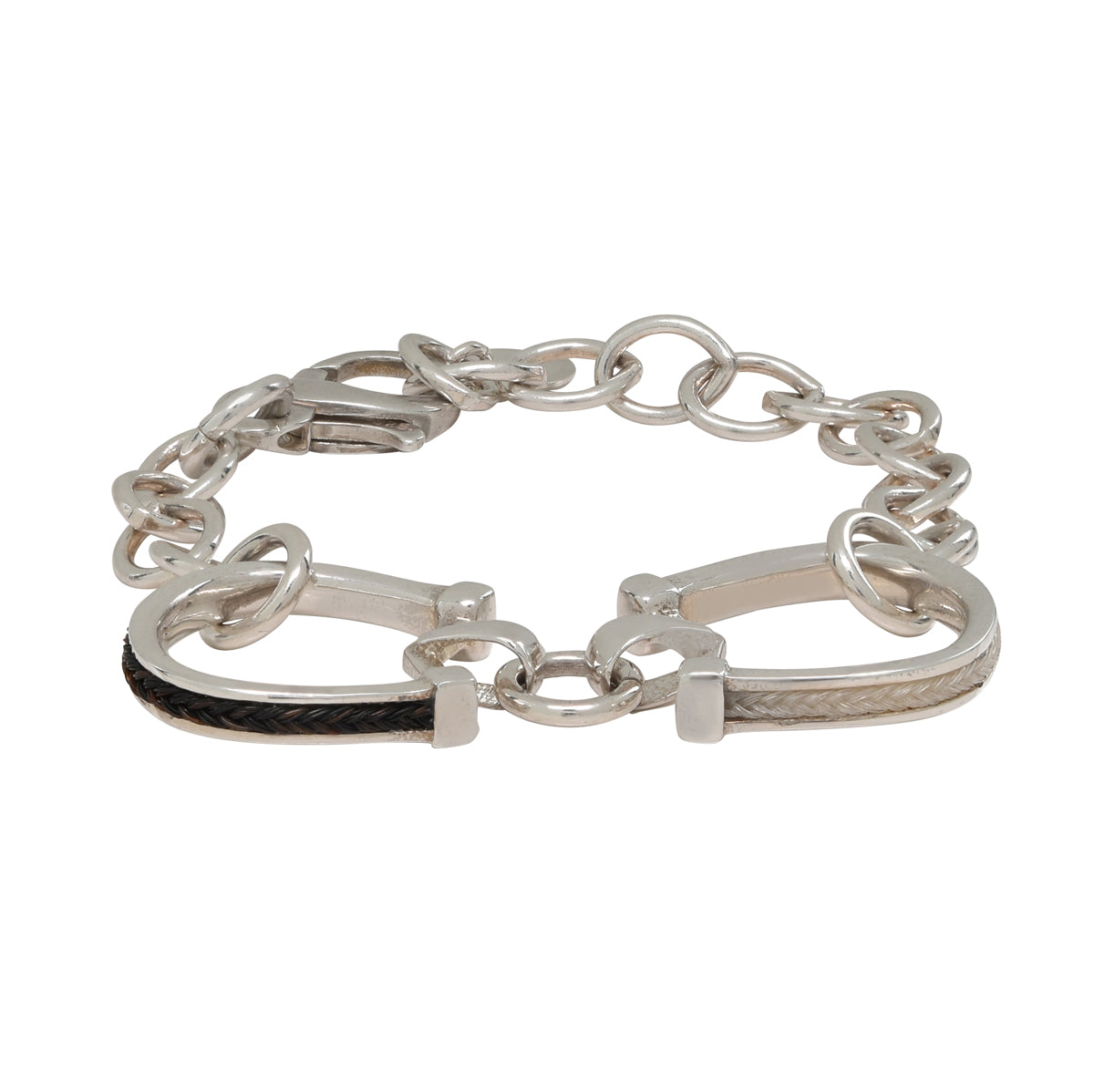 Double Horseshoe Bracelet with Inset Horsehair Braid