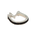 Silver small horseshoe charm with inset horsehair braid