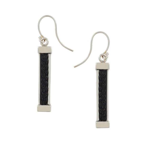 Bar Earrings with inset Horsehair Braid
