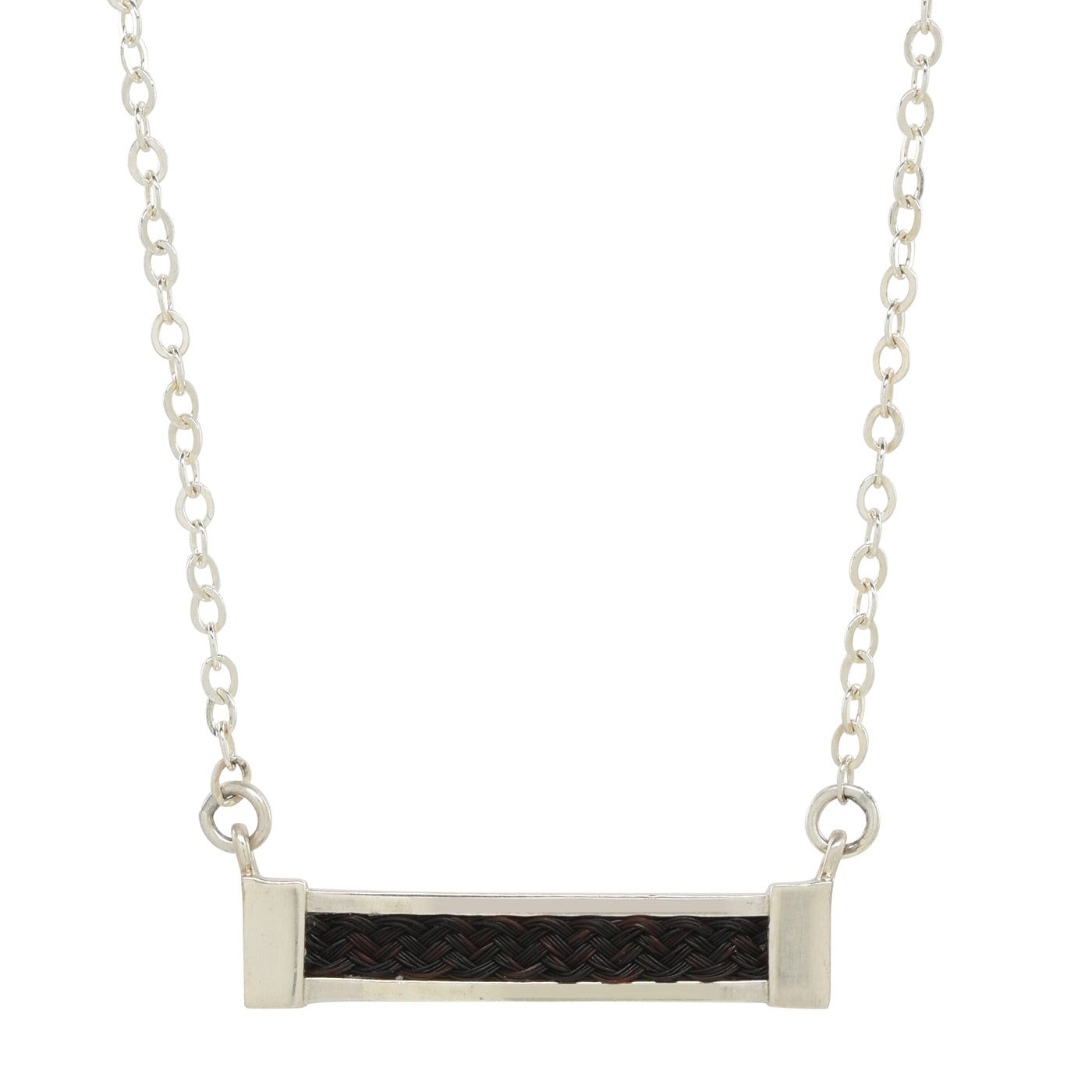 small horizontal bar necklace with inset horsehair braid