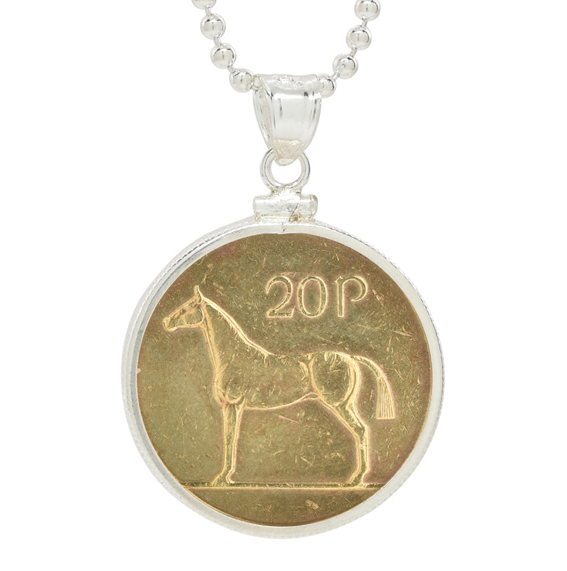 Irish 20 Pence coin pendant