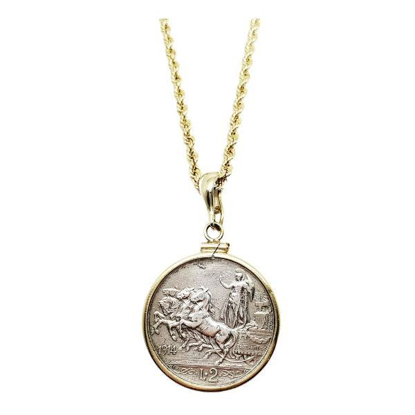 1914 Italian 2 Lire coin in gold mount with gold chain