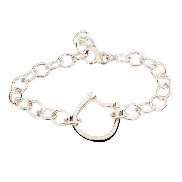 Medium horseshoe with horsehair braid bracelet with lobster clasp