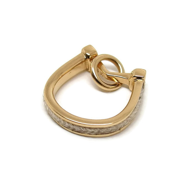 Gold Horseshoe Charm with inset horsehair braid