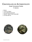 Certificate for Greek Termessos Bronze coin with Horse and Zeus