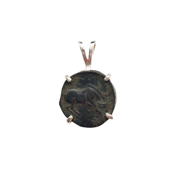 Ancient greek bronze coin with horse