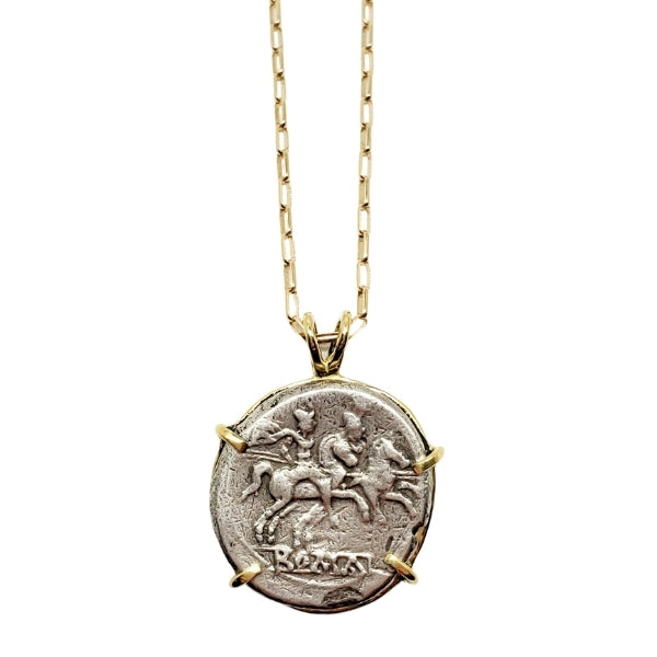Roman Republic Silver Denarius Dioscuri Gemini Twins on Horse-back 18kt Gold Pendant