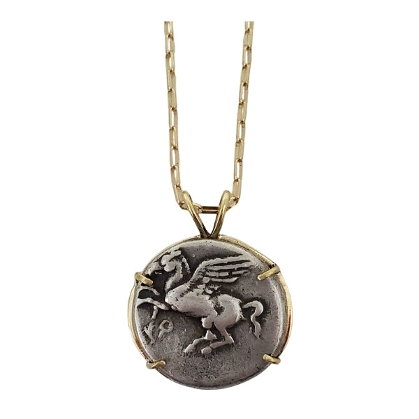 Ancient Greek Corinth Pegasus silver stater coin with Athena and Zeus on the obverse set in 18kt gold