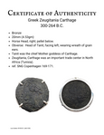 Certificate 039 ancient greek bronze coin horsehead