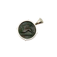 Griffin on back of ancient greek bronze coin pendant