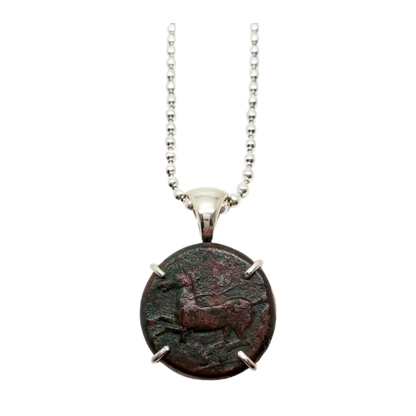 Ancient greek bronze coin pendant Kainon with horse and griffin